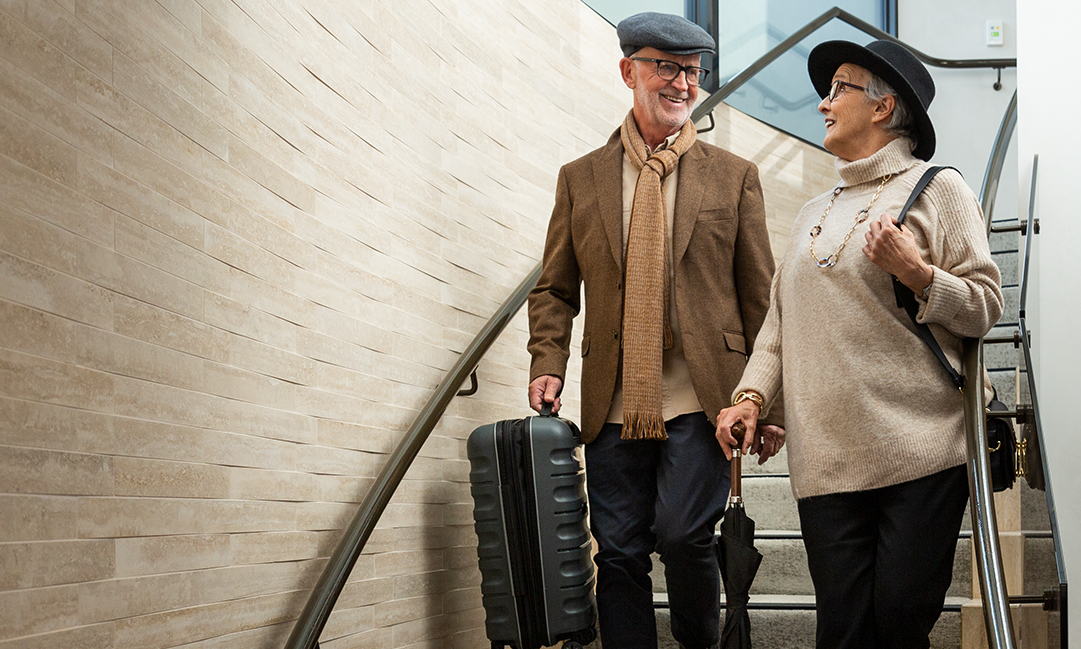 Prospect Hill Camberwell, retirement living - couple luggage