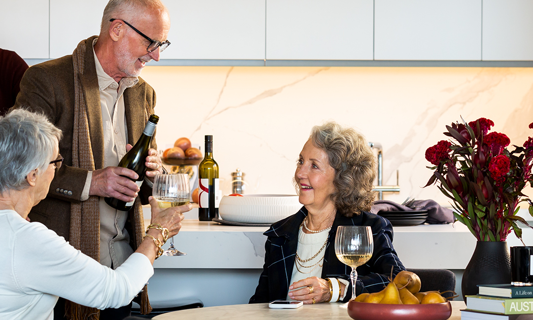 Prospect Hill Camberwell, retirement living - group having wine in kitchen
