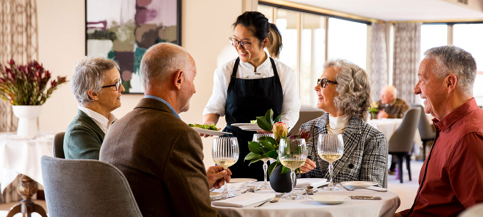 Prospect Hill Camberwell, Retirement Living - group dining in restaurant