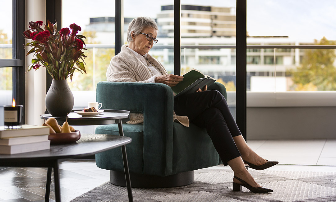 Prospect Hill Camberwell, retirement living – lady reading a book