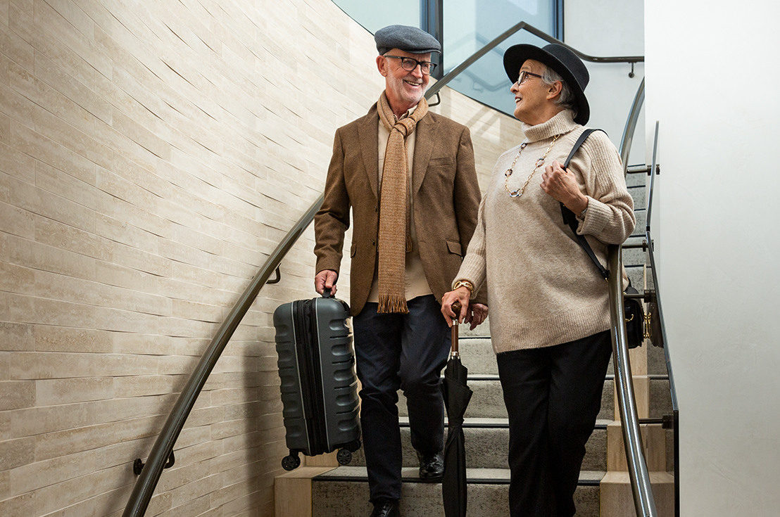 Prospect Hill Camberwell, retirement living - couple with luggage