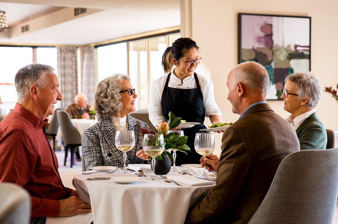 Prospect Hill Camberwell, retirement living - group eating in restaurant
