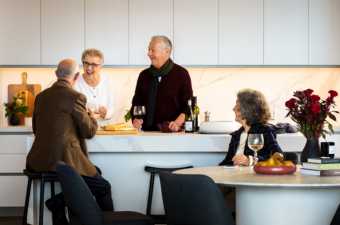 Prospect Hill Camberwell, retirement living - group drinking in kitchen