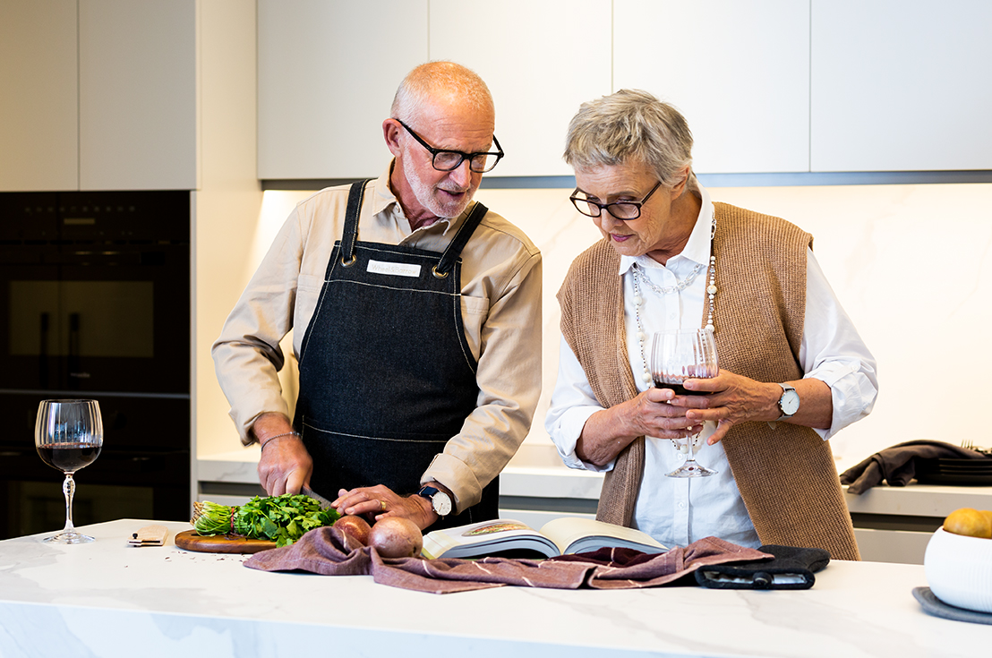 Prospect Hill Camberwell, retirement living - pair cooking relaxing