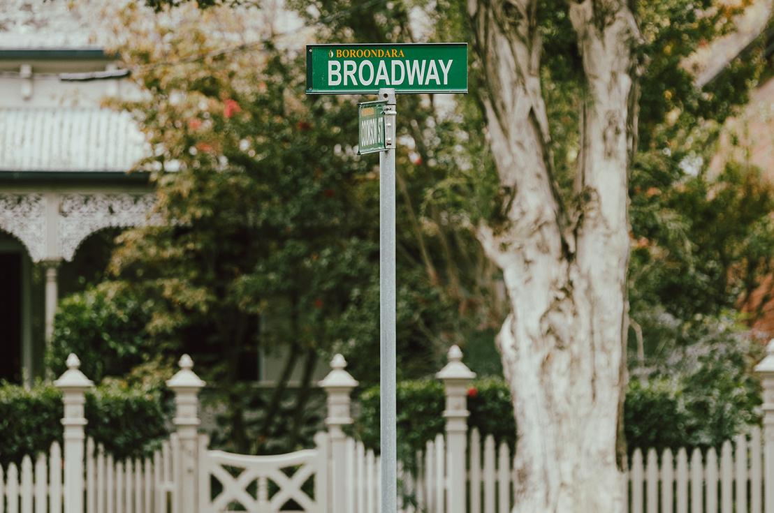 Prospect Hill Camberwell, retirement living - street sign, broadway boroondara
